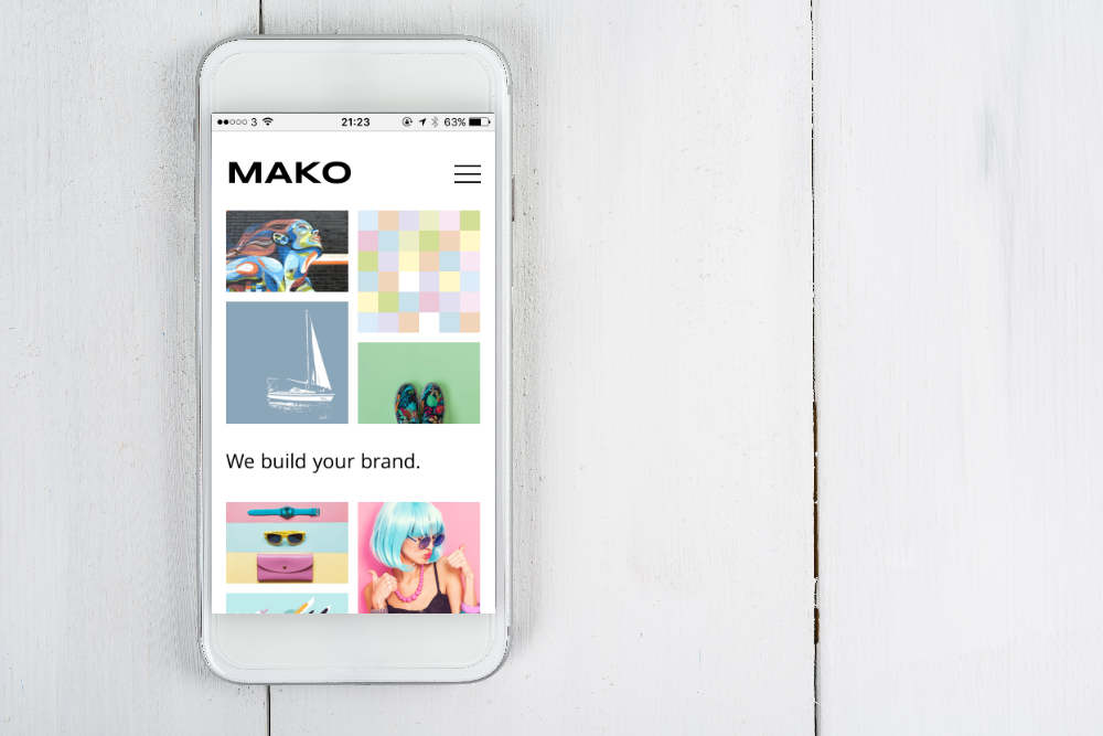 Mako website on an iphone.